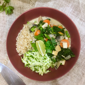 Tofu Thai Green Curry with Zucchini Rice