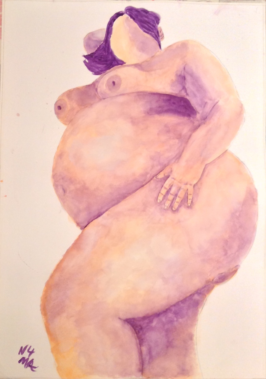 """Pregnant Naked Beauty in Repose"