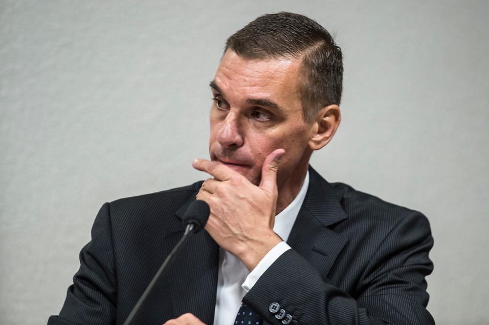 O presidente do HSBC Brasil, André Guilherme Brandão, participa de audiência pública na Comissão Parlamentar de Inquérito (CPI) do HSBC, no Senado (Marcelo Camargo/Agência Brasil)