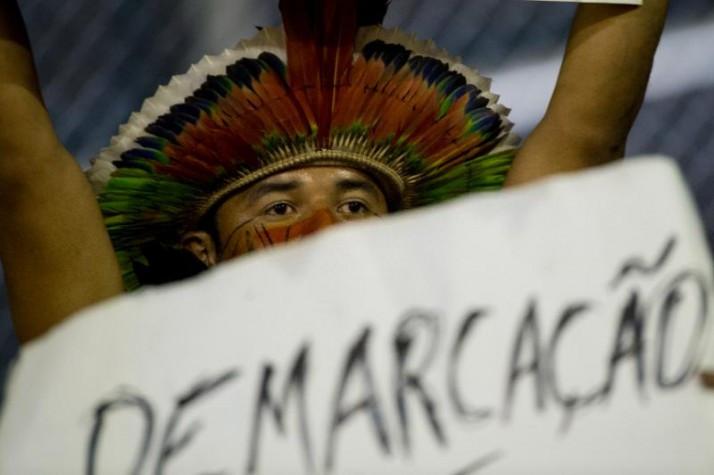 Indígenas protestam na abertura dos Jogos Mundiais Indígenas, em Palmas (TO)  Marcelo Camargo/ Agência Brasi