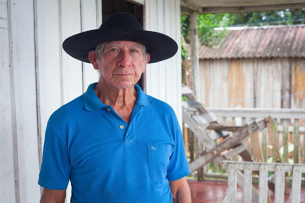 Seu Zizi, de 78 anos, nasceu no Jatuarana (Foto: César Nogueira/Amazônia Real)
