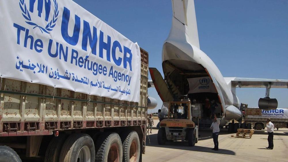 SÍRIA/2014 — Um avião do ACNUR entrega itens de assistência para deslocados internos no nordeste da Síria. Eles totalizam 6,1 milhões de pessoas no país. Em 11 dias, 440 toneladas de suprimentos emergenciais foram entregues. Foto: ACNUR/M.Hamdoush