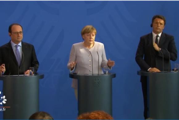 François Hollande, Angela Merkel e Matteo Renzi fazem declaração conjunta sobre prioridades da União Europeia depois da saída do Reino Unido do bloco - Foto: Presidência da República da França
