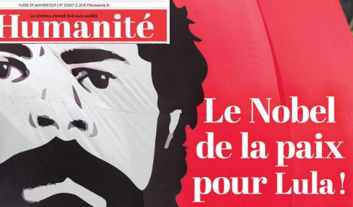 L'Humanité traz matéria de capa com ex-presidente Lula, cotado para o Nobel da Paz