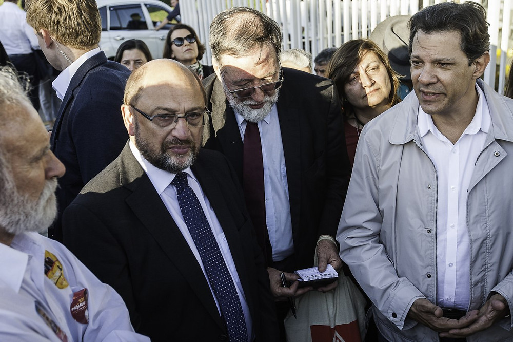 Schulz e Haddad após visita a Lula/Foto: Joka Madruga