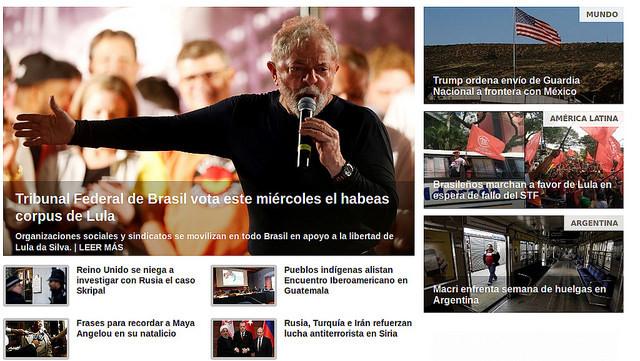 Diversos meios de comunicação pelo mundo trazem em destaque o julgamento do Habeas Corpus de Lula no STF / Telesur/Reprodução