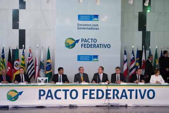 O senador Renan Calheiros e o deputado Eduardo Cunha ouviram queixas, reclamações e sugestões dos governadores Marcelo Camargo/Agência Brasil