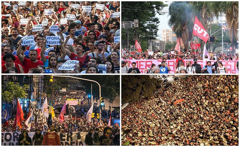 Manifestações em Rio Grande do Sul, Minas Gerais e São Paulo