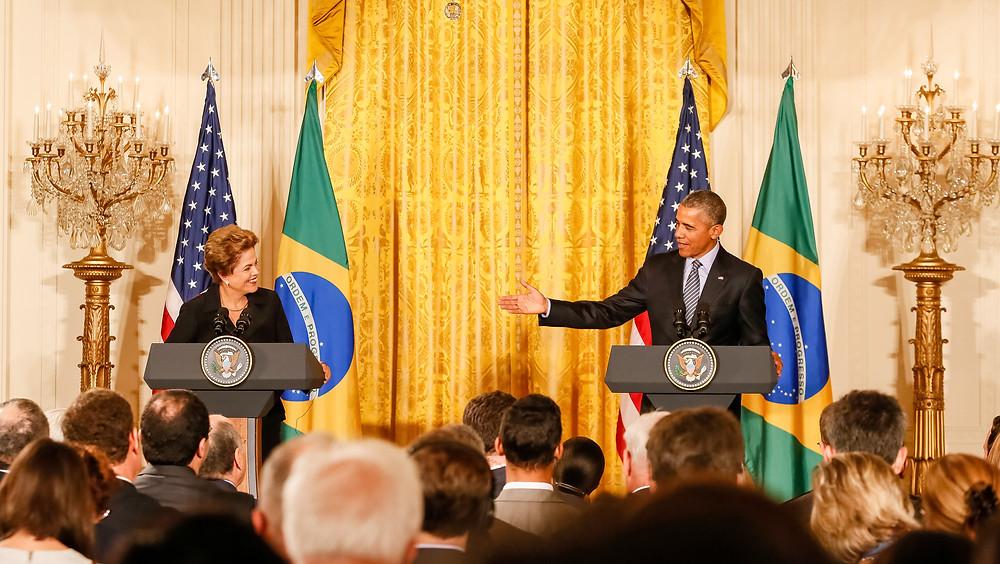 Washington – EUA – A Presidenta Dilma Rousseff durante declaração à imprensa com o presidente dos Estados Unidos da América, Barack Obama. - Foto: Roberto Stuckert Filho/PR