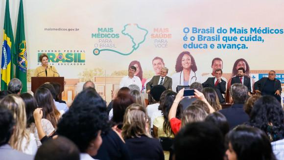 """""""A minha luta não é só para manter meu mandato, é para garantir e preservar conquistas históricas da população brasileira"""", afirmou a presidenta Dilma Rousseff em seu discurso. Foto: Roberto Stuckert Filho"""