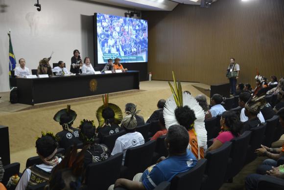 Em audiência pública na Câmara dos Deputados, indígenas cobraram a imediata demarcação de terrasWilson Dias/Agência Brasil