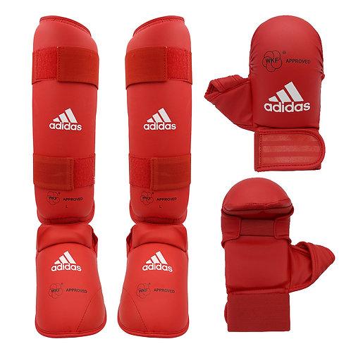 Kit Karate adidas Caneleira + Luva com dedão Vermelha WKF Approved