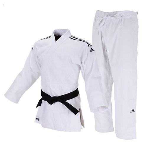 Kimono Judô Adidas Quest J690 Branco com Faixas Bordadas em Preto