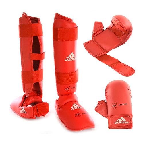Kit Karate Protetores Adidas Caneleira + Luva com dedão Vermelha WKF