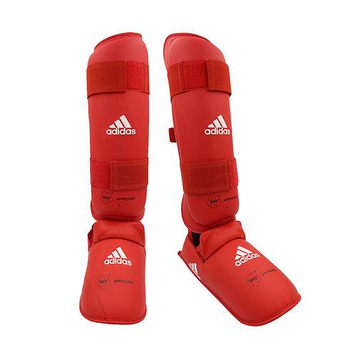 Caneleira Karate adidas com Protetor de Pé Vermelho WKF Approved