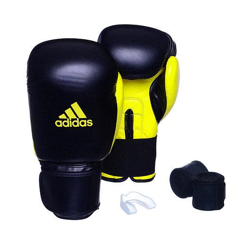 Kit Luva Adidas Power 100 Colors Preto/Amarelo + Bandagem e Bucal Simples Grátis