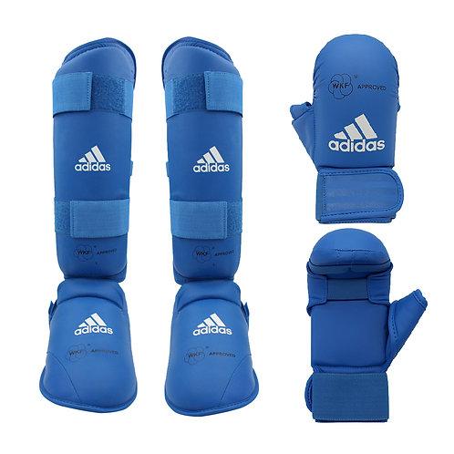 Kit Karate adidas Caneleira + Luva com dedão Azul WKF Approved