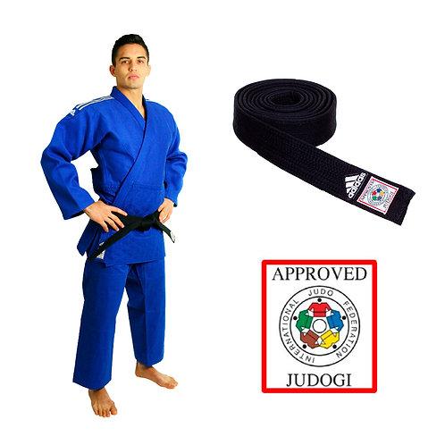 KIT Kimono Judô Champion II adidas Selo Eletrônico da IJF Azul + Faixa Preta IJF