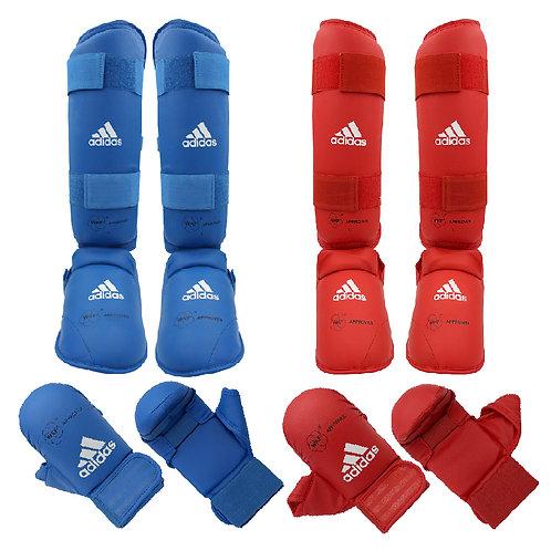 Kit Karate adidas Caneleiras + Luvas com dedão Vermelha e Azul WKF