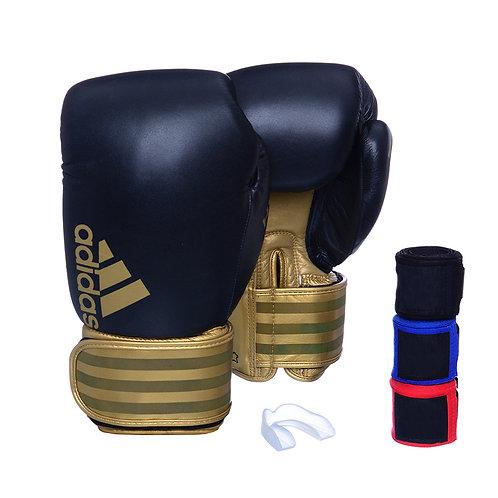 Kit Luva Adidas Hybrid 200 Preto/Dourado + 3 Bandagens e Bucal Simple