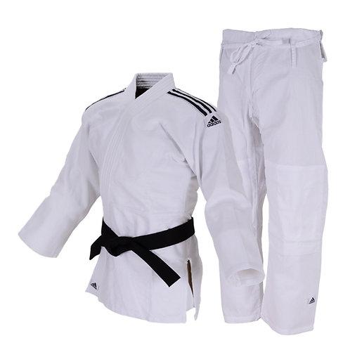 Kimono Judô Adidas Club Trançado Branco com Listras na cor Preta