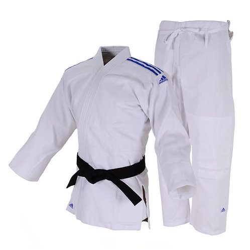 Kimono Judô Adidas Club Trançado Branco com Listras na cor Azul