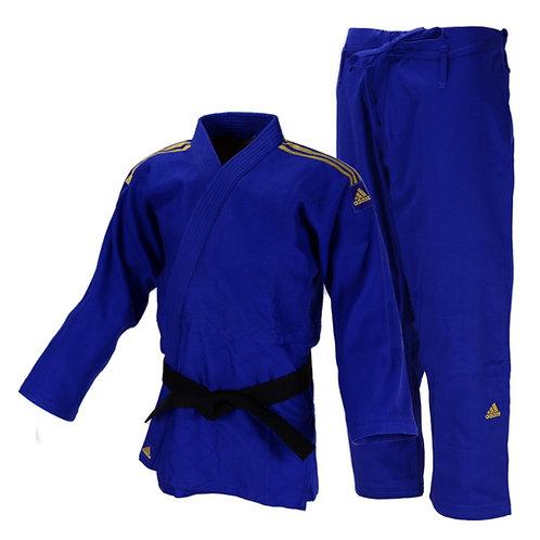 Kimono Judô Adidas Quest J690 Azul com Faixas Bordadas em Dourado