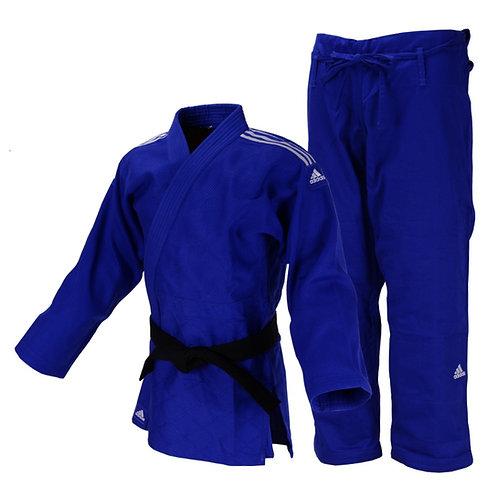 Kimono Judô Adidas Quest J690 Azul com Faixas Bordadas em Branco