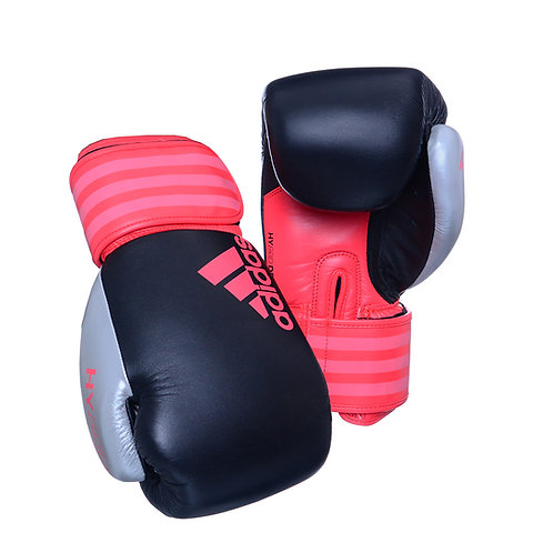 Luva de Boxe Muay Thai Adidas Hybrid 200 Dynamic Fit Black Shock Red & Silver