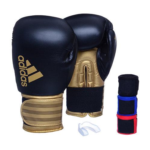 Luva Adidas Hybrid 100 Preta/Dourada + 3 Bandagens e Bucal Simples