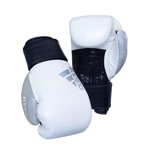 Luva de Boxe Muay Thai Adidas Hybrid 200 Black White & Silver