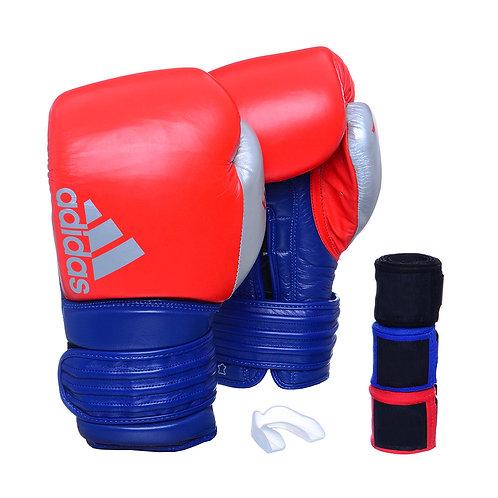 Kit Luva Boxe Adidas Hybrid 300 Vermelho/Azul + 3 Bandagens e Bucal Simples