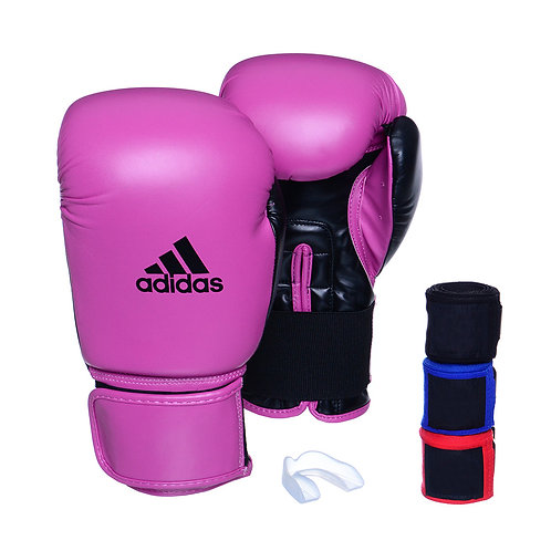 Kit Luva Adidas Power 100 Colors Rosa/Preto + 3 Bandagens e Bucal Simples