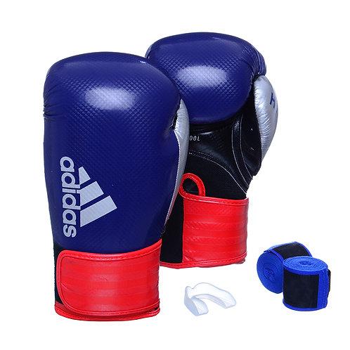 Kit Luva Adidas Hybrid 65 Azul/Vermelho + Bandagem e Bucal Simples Grátis