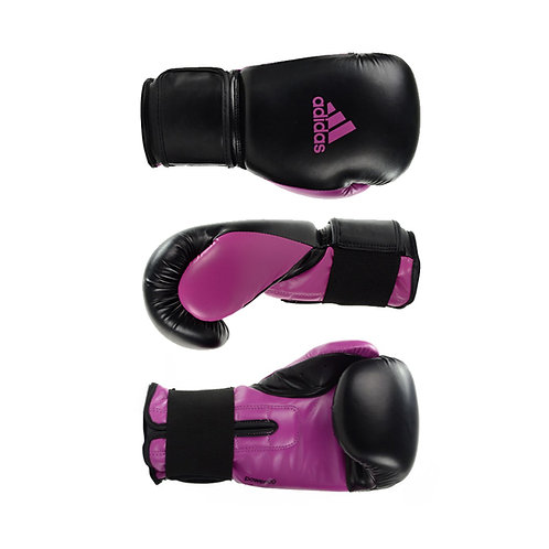 Luva de Boxe Muay Thai Adidas Power 100 Colors Preto/Rosa