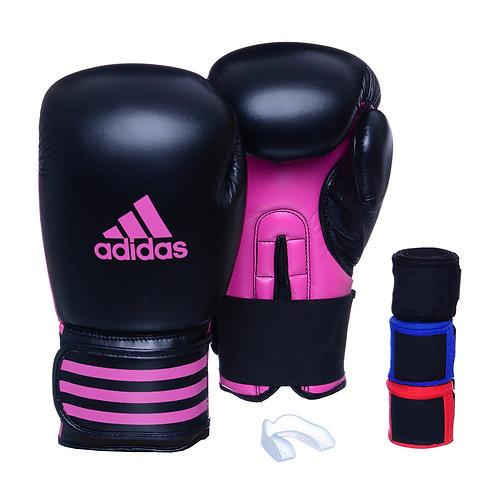 Kit Luva Adidas Power 100 Preto/Rosa + 3 Bandagens e Bucal Simples