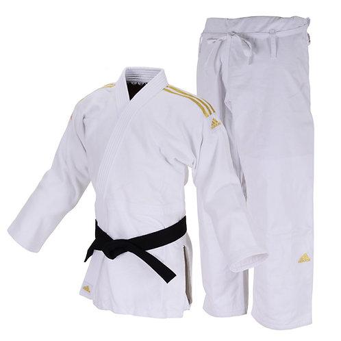 Kimono Judô Adidas Quest J690 Branco com Faixas Bordadas em Dourado