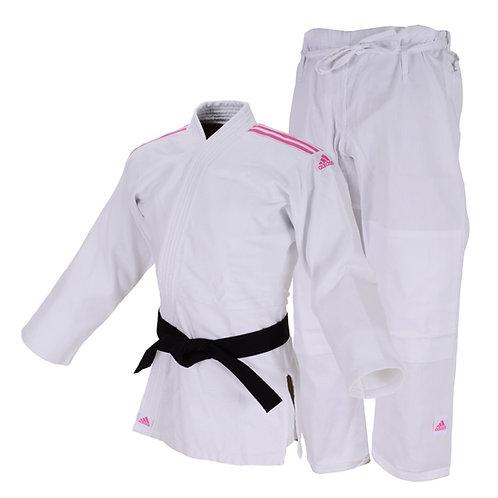 Kimono Judô Adidas Club Trançado Branco com Listras na cor Rosa