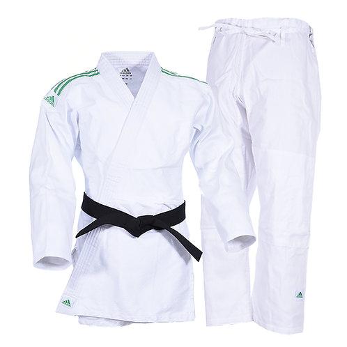 Kimono Judô Adidas Club Trançado Branco com Listras na cor Verde