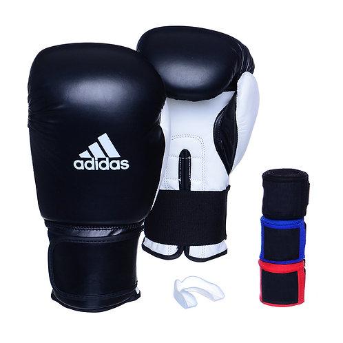 Kit Luva Adidas Power 100 Colors Preto/Branco + 3 Bandagens e Bucal Simples
