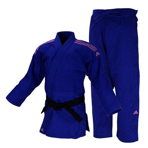 Kimono Judô Adidas Quest J690 Azul com Faixas Bordadas em Rosa