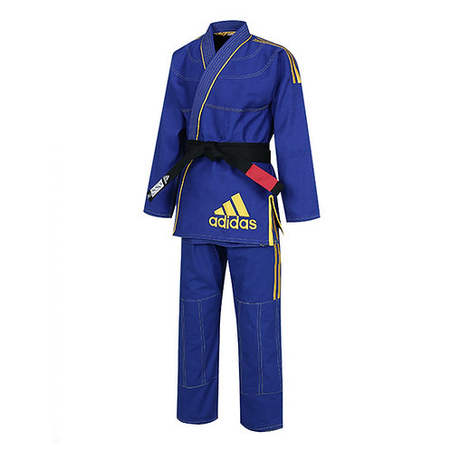 Kimono adidas Jiu Jitsu JJ430 Contest Azul com Listas Amarelas 2.0