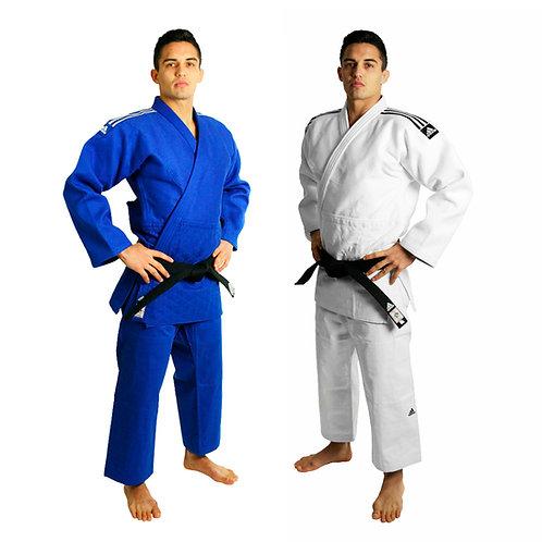 KIT 2 Kimonos Judô Champion II adidas IJF (Azul + Branco)