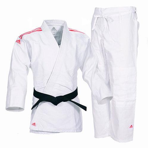 Kimono Judô Adidas Club Trançado Branco com Listras na cor Vermelha