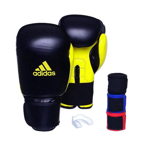 Kit Luva Adidas Power 100 Colors Preto/Amarelo + 3 Bandagens e Bucal Simples