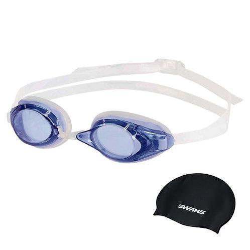 Óculos para Natação Optic FO-2 OP SWANS com grau Lente Azul + Touca
