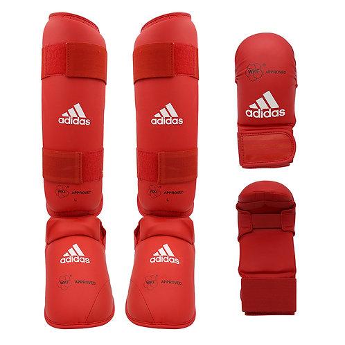 Kit Karate adidas Caneleira + Luva sem dedão Vermelha WKF Approved