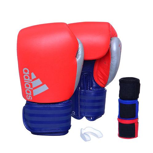 Kit Luva Adidas Hybrid 200 Vermelha/Azul + 3 Bandagens e Bucal Simples