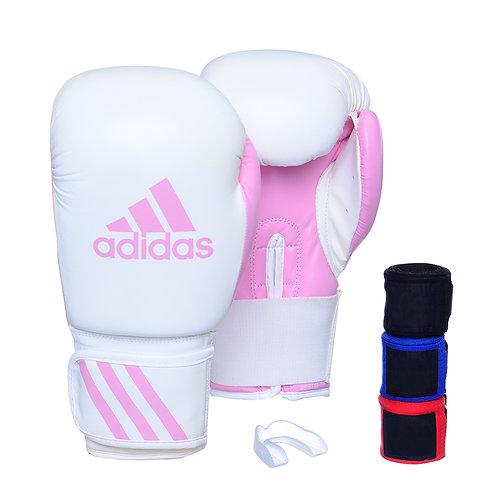Kit Luva Boxe Adidas Response Branco/Rosa com 3 Bandagens e Bucal Simples
