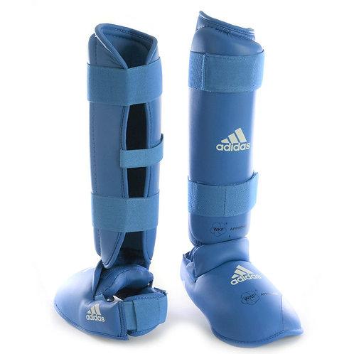 Caneleira Karatê Adidas com Protetor de Pé Azul WKF